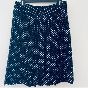 Liz Claiborne Black Pleated Polka Dot Skirt